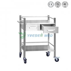 Two Drawer Stainless Steel Mobile Dental Cabinert YSDEN-D40